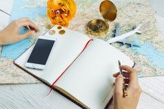 Bloger-Planungsbudget der Reise Stockfotos