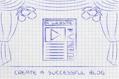 Blogg- eller websitesymboler på etapp under strålkastare Arkivfoton