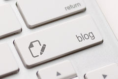 Bloggen skriver in tangent Arkivbilder