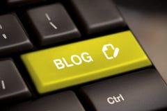 Bloggen skriver in tangent Arkivfoton