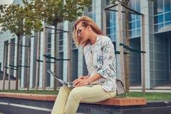 Blogger élégant de mode à l'aide de l'ordinateur portable pour le travail tout en se reposant dehors sur un banc contre un gratte Image libre de droits