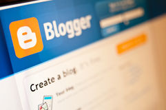 Blogger. Computer screen with Blogger (blogspot) page stock photo
