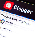 Blogger. Computer screen with Blogger (blogspot) page stock photography