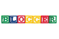 Blogger - Alphabet-Baby-Blöcke auf Weiß Lizenzfreie Stockbilder