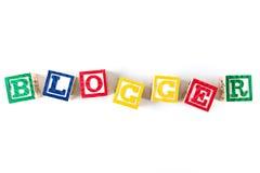Blogger - Alphabet-Baby-Blöcke auf Weiß Stockfotografie
