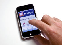 Blogger.com on iphone royalty free stock photos