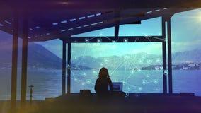 Blogger dostaje mnóstwo podobieństwa, infographics i pięknego widok jezioro, ilustracja wektor