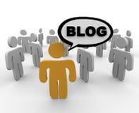 Blogger en Zijn Publiek Stock Afbeelding