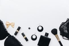Blogger and fashion concept. Set of glamorous stylish woman accessories and lingerie on white background. Flat Lay, Copy Space Stock Photography