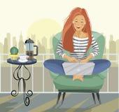 Blogger femenino joven Mujer del Freelancer que usa el ordenador portátil que se sienta en el balcón libre illustration