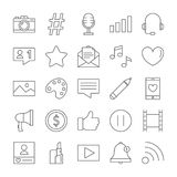 Blogger icons set. Line illustrations on white Royalty Free Stock Photo