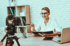 Blogger makes a video about a business royalty free stock photography