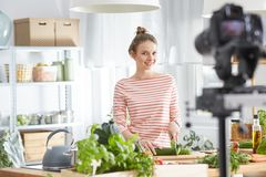 Blogger making a video Royalty Free Stock Image