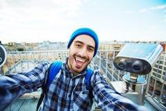 Blogger op reis royalty-vrije stock foto