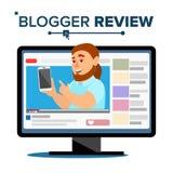 Blogger Przeglądowy pojęcie Vetor Popularny Blogger mężczyzna Badać Czynnościowy Z Nowym Smartphone Online kanał Wideo zawartość royalty ilustracja