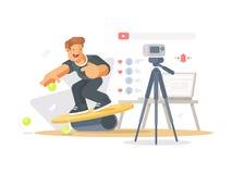 Blogger shoots video Stock Photos