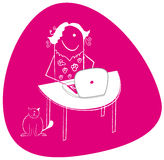 Blogger woman illustration Stock Image