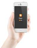 Bloggerinloggningssida på den Apple iPhoneskärmen Arkivfoto