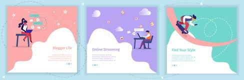 Bloggers que difunden los blogs video en medios sociales stock de ilustración
