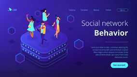 Social network behavior isometric 3D landing page. Bloggers using mobile phones and tablets walking on server. Social network behavior and digital society vector illustration
