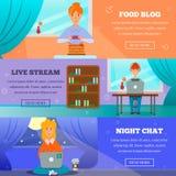 Bloggersteckenämnen sänker baner stock illustrationer