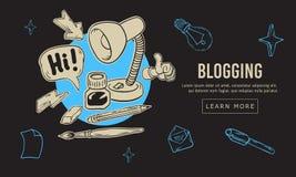 Blogging καλλιτεχνικό σχέδιο εικονιδίων και συμβόλων απεικονίσεων σχεδίων ύφους τέχνης γραμμών κινούμενων σχεδίων συρμένο χέρι πε ελεύθερη απεικόνιση δικαιώματος