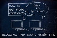 Blogging: Aufruf zum Handeln, zum mehr von Kommentaren zu erhalten Lizenzfreie Stockfotografie