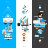 Blogging Banner Set. Blogging vertical banner set with flat social media elements  vector illustration Royalty Free Stock Photos