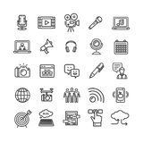 Blogging Black Thin Line Icon Set. Vector. Blogging Black Thin Line Icon Set Technology Element for Web Design Include of , Chat, Cloud, Earphone and Target Stock Images