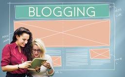 Blogging Blog-Social Media-Vernetzungs-Internet, das Concep anschließt Lizenzfreie Stockbilder