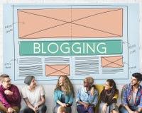 Blogging Blog-Social Media-Vernetzungs-Internet, das Concep anschließt Lizenzfreies Stockbild