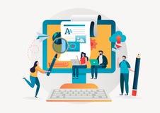 Blogging, blogger ανεξάρτητος δημιουργικό γράψιμο Συγγραφέας αντιγράφων ικανοποιημένη διαχείριση Επίπεδο διανυσματικό σχέδιο χαρα απεικόνιση αποθεμάτων