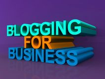 Blogging for business. 3D text reading blogging for business on purple background royalty free stock image