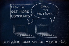 Blogging: call to action to get more comments royalty free stock photography