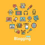 Blogging Color Round Design Template Line Icon Concept. Vector. Blogging Color Round Design Template Line Icon Concept Include of People, Comment Bubble and Royalty Free Stock Photo