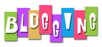 Blogging Colorful Stripes. Blog text in different colorful squares background Royalty Free Stock Image