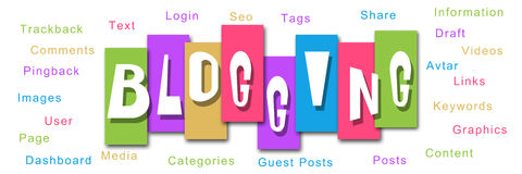 Blogging Colorful Stripes Code Banner. Blog text in different colorful squares background with keywords Stock Photo