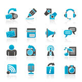 Blogging, communication and social network icons Stock Photo