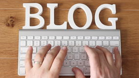 Blogging conceot with top view of keyboard stock footage