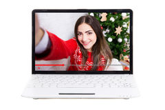 Blogging concept - beautiful girl blogger on laptop screen Royalty Free Stock Photos