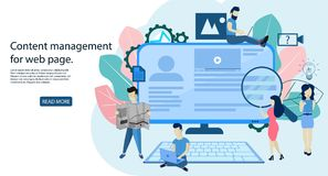 Blogging Concept, content management for web page stock illustration