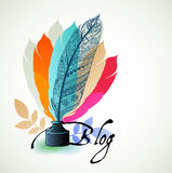 Write edit blog concept feathers. Old-fashioned feather pen with ink bottle colors Stock Photo