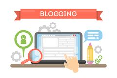 Blogging concept illustration. Idea of writing blog and making content for social media Stock Photography