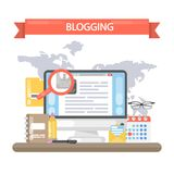 Blogging concept illustration. Idea of writing blog and making content for social media Royalty Free Stock Photography