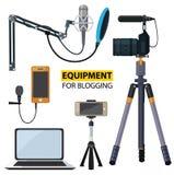 Equipment for blogging. Blogging concept illustration. Vector illustration flat design Stock Photography