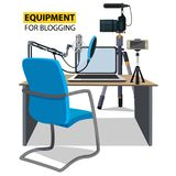 Workplace for blogger. Equipment for blogging. Blogging concept illustration. Vector illustration flat design Royalty Free Stock Photos