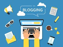 Blogging concept picture. Hands on laptop and various tools for writers around royalty free illustration