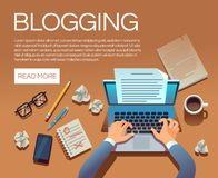 Blogging concept. Writing story book and blog articles. Writer journalist copywriter type on laptop vector illustration. Blogging laptop, journalist blog on royalty free illustration