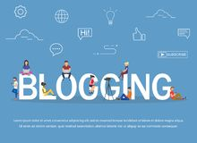 Blogging concept of young people using laptops and tablets for reading blogs and websites. Flat design Royalty Free Stock Photos
