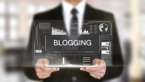 Blogging, concepto futurista del interfaz del holograma, realidad virtual aumentada